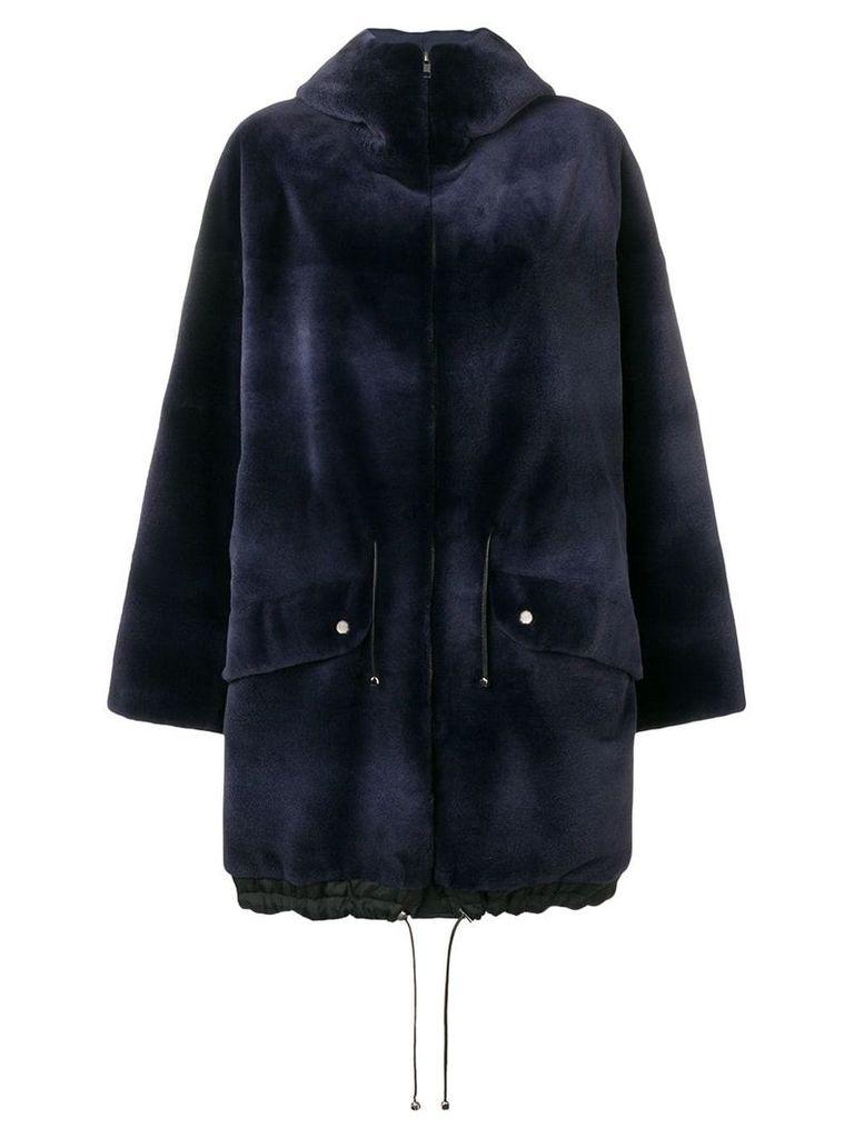 Liska hooded mid-length coat - Blue