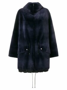 Liska hooded mid-length coat - Blue