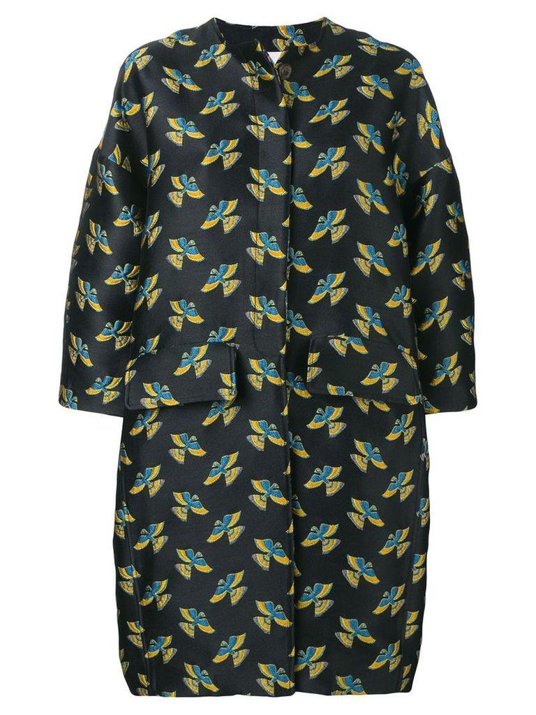 La Doublej Brocade oversize egg coat - Black