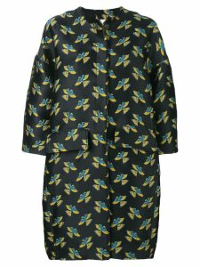 La Doublej Brocade oversize egg coat - Black