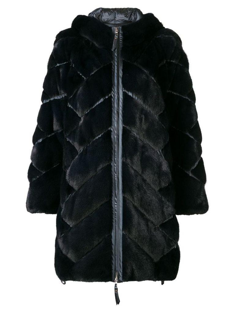 Liska zipped hooded coat - Blue