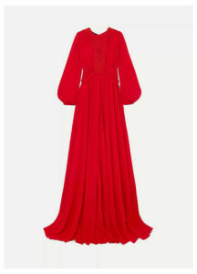 Giambattista Valli - Guipure Lace-trimmed Gathered Crepe De Chine Gown - IT46