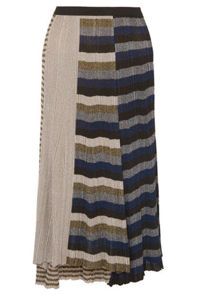 Sonia Rykiel - Metallic Striped Ribbed-knit Skirt - Gold