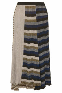 Sonia Rykiel - Metallic Striped Ribbed-knit Skirt - Gold