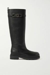 Michael Kors Collection - Ruffle-trimmed Ribbed Stretch-knit Midi Dress - Black