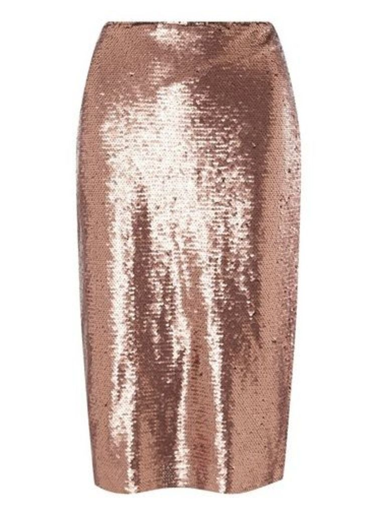 Womens **Petite Vero Moda Copper Pencil Skirt- Copper, Copper