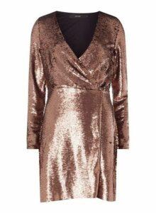 Womens **Vero Moda Copper Wrap Mini Dress- Metallic, Metallic