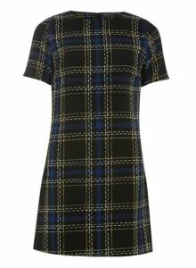 Womens **Black Woven Check Shift Dress- Black, Black
