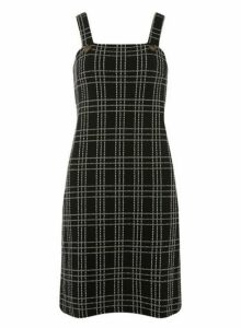 Womens Black Check Pinafore Dress- Black, Black