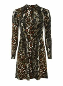Womens Petite Snake Print Fit And Flare Dress- Brown, Brown
