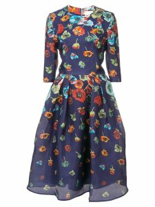 Carolina Herrera floral-print flared dress - Blue