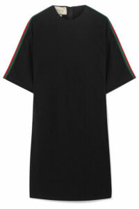 Gucci - Oversized Grosgrain-trimmed Stretch-cady Tunic - Black
