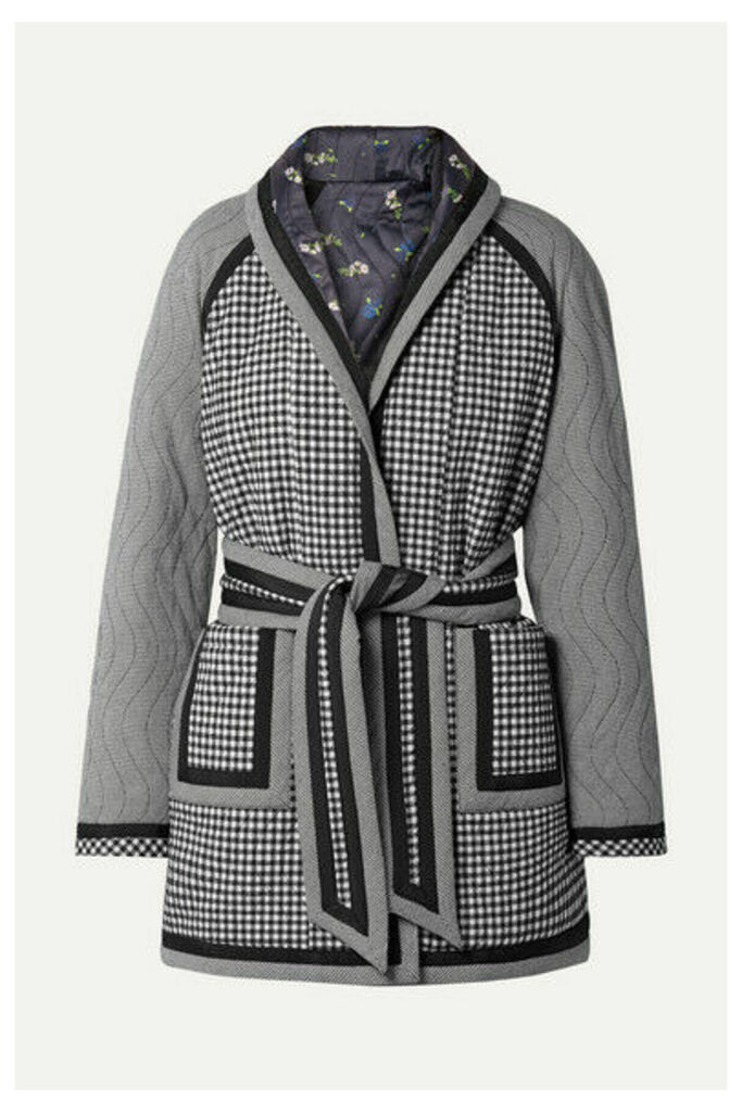 Opening Ceremony - Reversible Belted Printed Woven And Satin Coat - Black