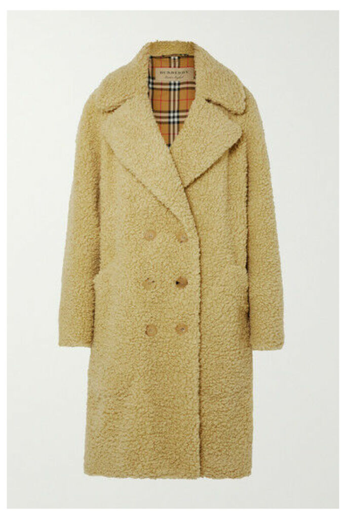 Burberry - Oversized Double-breasted Wool-blend Faux Shearling Coat - Pastel yellow