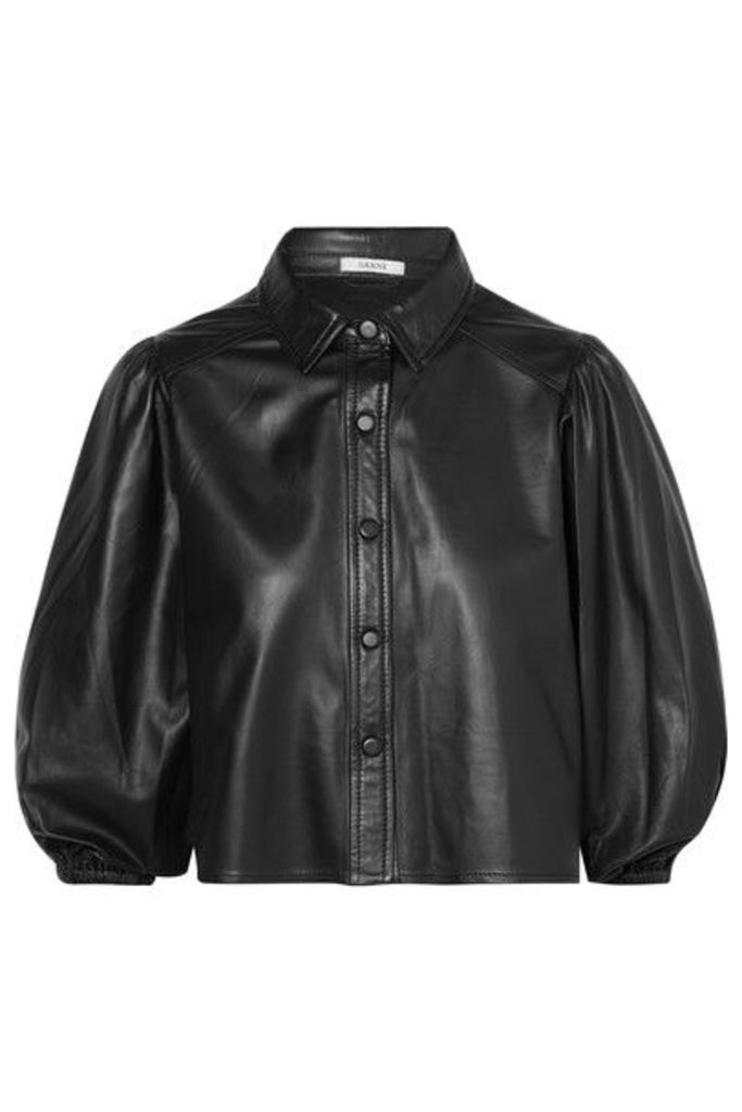 GANNI - Leather Shirt - Black