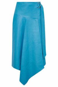 Tibi - Asymmetric Leather Midi Skirt - Blue