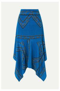 GANNI - Asymmetric Silk Crepe De Chine Midi Skirt - Cobalt blue