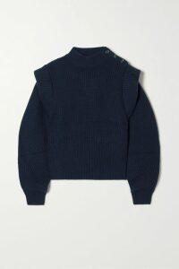 Hervé Léger - Fluted Off-the-shoulder Textured Stretch-knit Dress - large