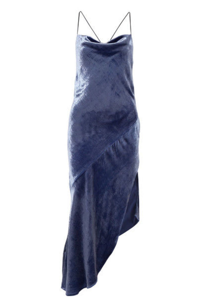 Haney - Hanne Asymmetric Crushed-velvet Midi Dress - Blue
