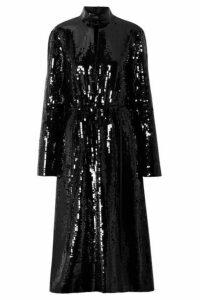Tibi - Avril Shell-paneled Sequined Cotton Midi Dress - Black