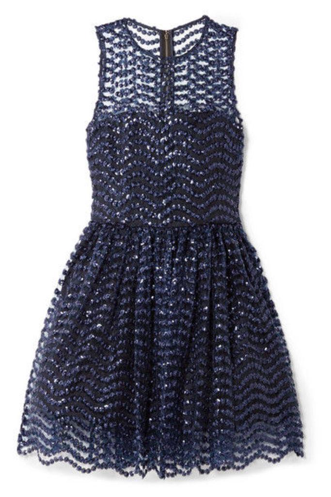 Alice + Olivia - Daisy Embroidered Sequined Tulle Mini Dress - Indigo