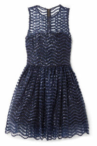 Alice + Olivia - Daisy Embroidered Sequined Tulle Mini Dress - Indigo