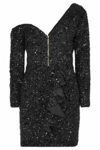 Self-Portrait - One-shoulder Sequined Crepe Mini Dress - Black