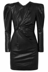 Isabel Marant - Cobe Twisted Leather Mini Dress - Black