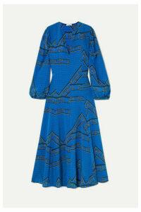 GANNI - Printed Silk Crepe De Chine Maxi Dress - Cobalt blue