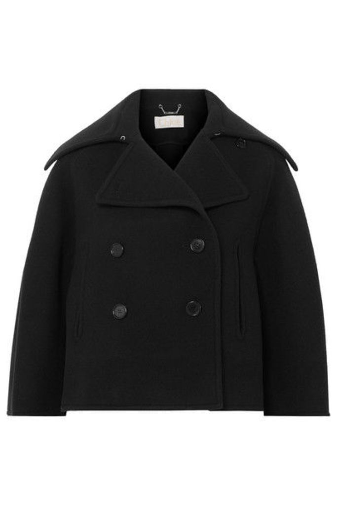 Chloé - Cropped Double-breasted Wool-blend Felt Coat - Navy