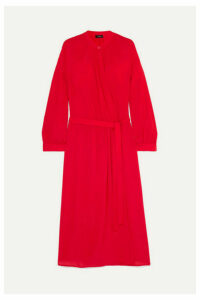 Joseph - Nolan Wrap-effect Silk-georgette Midi Dress - Red