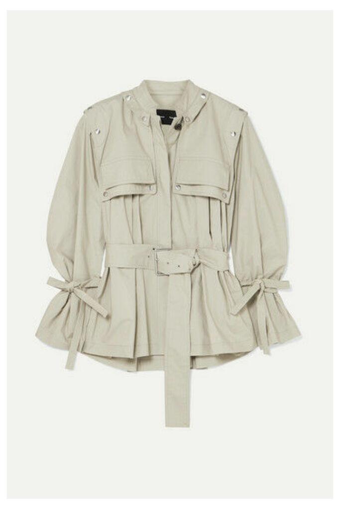 Proenza Schouler - Belted Cotton-blend Gabardine Jacket - Stone