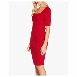 Adrianna Papell Knit Crepe Scoop Neck Sheath Dress, Cardinal Red