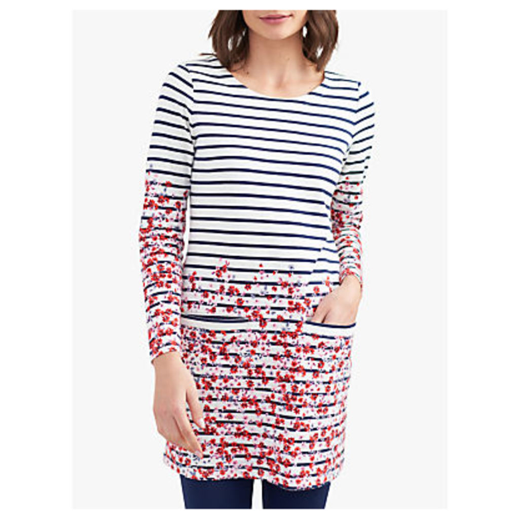 Joules Quinn Long Sleeve Floral Tunic Dress, Cream Border Ditsy