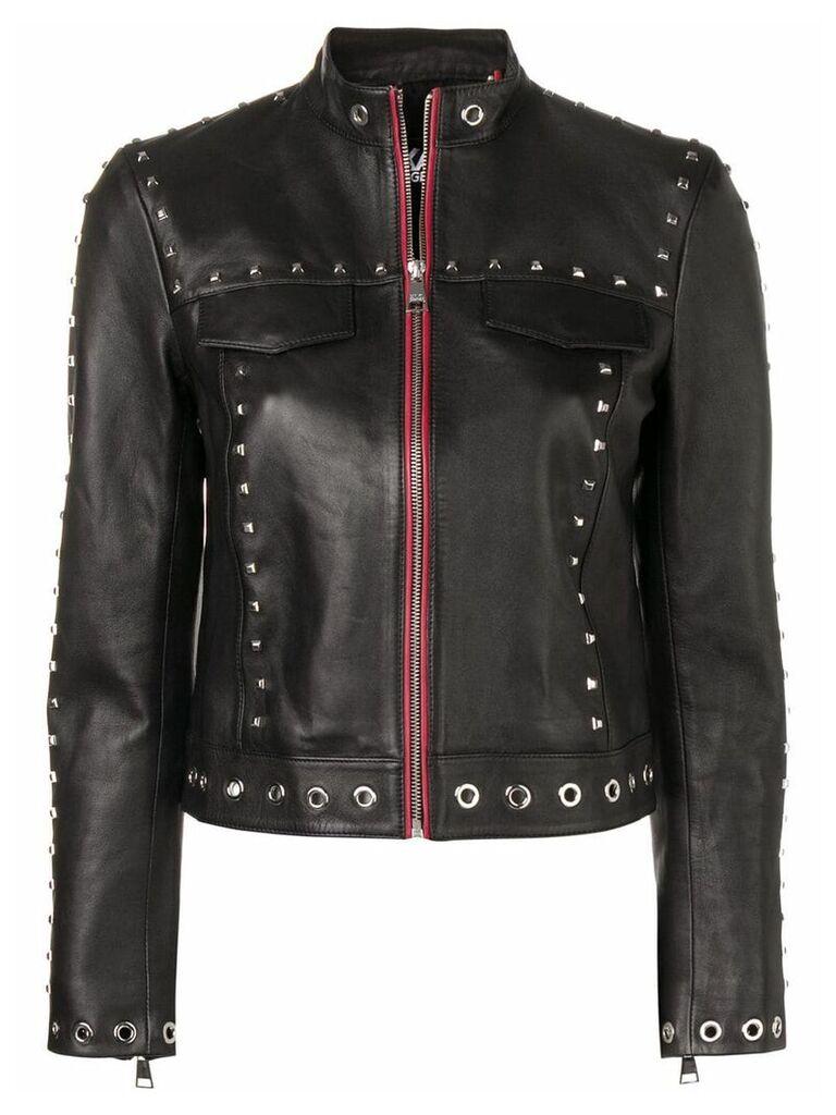 Karl Lagerfeld Studded Leather Jacket - Black