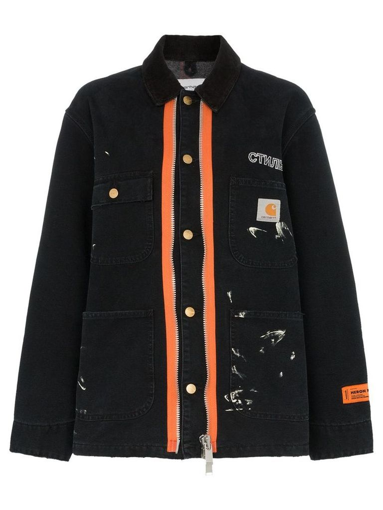 Heron Preston x carhartt orange contrast zip workwear jacket - Black