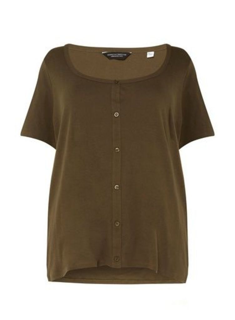 Womens **Dp Curve Khaki Button Down T-Shirt- Khaki, Khaki