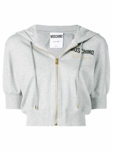Moschino Couture embroidery cropped hoodie - Grey