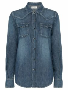 Saint Laurent popper button envelope pocket denim shirt - Blue