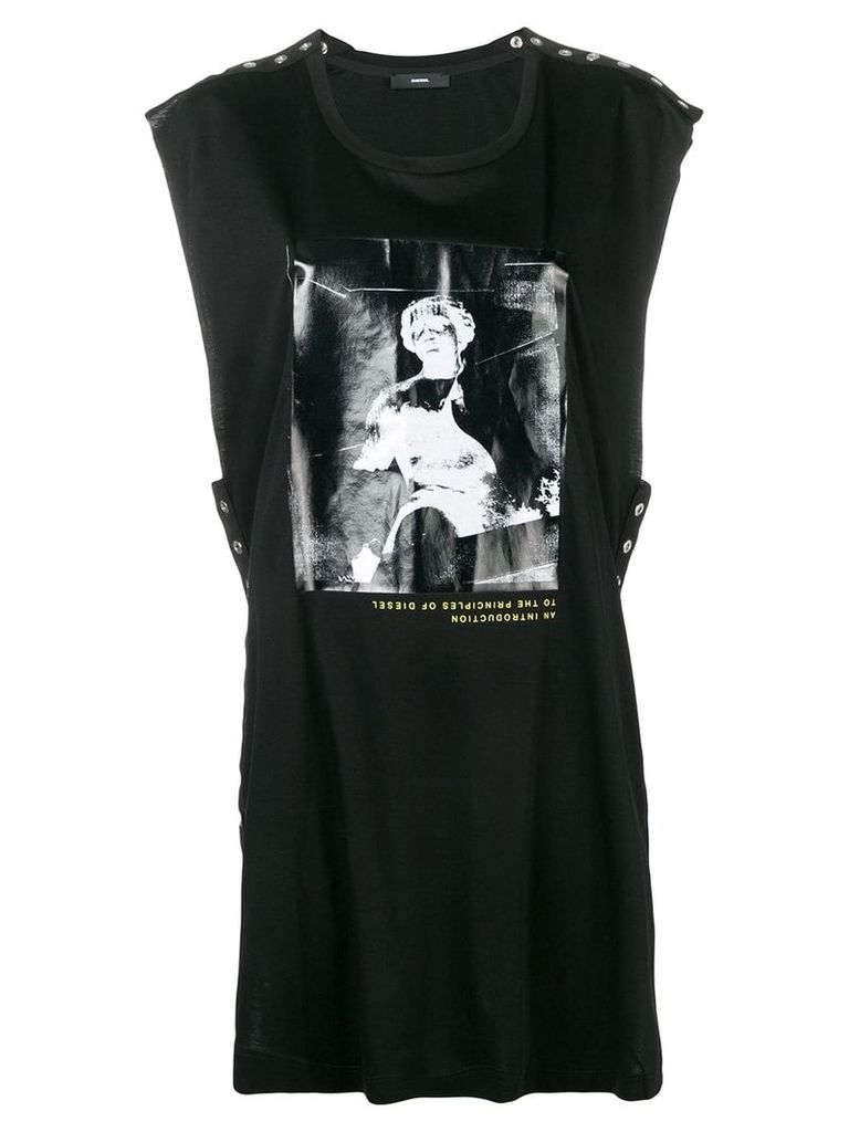 Diesel sleeveless top with shiny print - Black