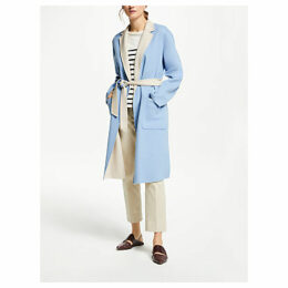 Weekend MaxMara Double Faced Wool Coat, Light Blue/Cream