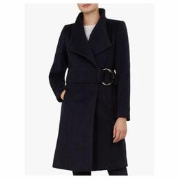 Ted Baker Belted Oversized Collar Wool Coat, Dark Blue