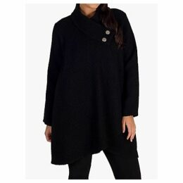 Chesca Asymmetrical Basket Weave Coat, Black