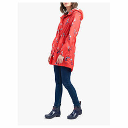 Joules Golightly Pack-Away Waterproof Floral Print Parka Coat, Red