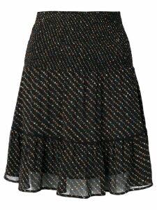 Ganni floral print a-line skirt - Black