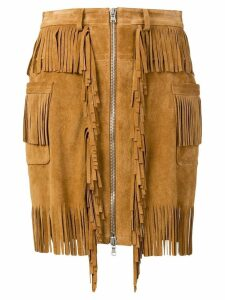 Diesel Black Gold Skirt in split suede with fringes - Brown