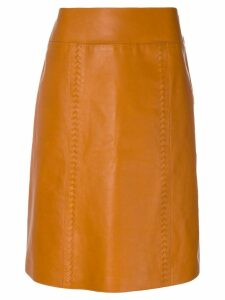 Bottega Veneta Leather midi skirt - Brown