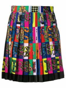 Versace logo print pleated mini skirt - Blue