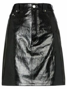 Helmut Lang five-pocket patent leather skirt - Black