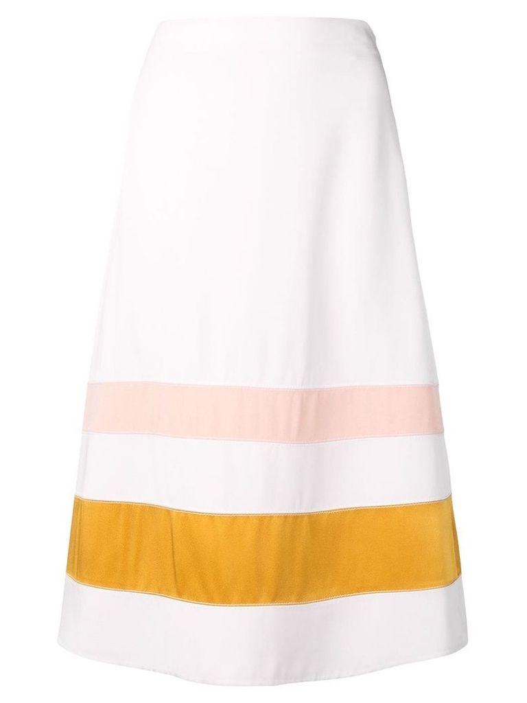 Marni striped A-line skirt - White
